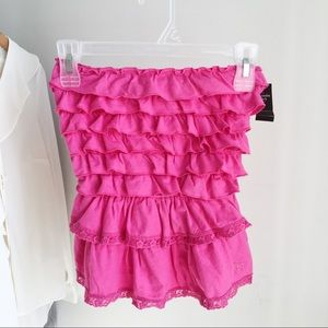Abercrombie and Fitch Ruffle Tube Top - Pink